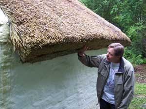 Mark checks out sod roof