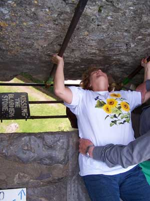 Colleen kisses Blarney Stone